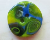Swamp Thing - art glass button - french blue, translucent yellow and green swirls