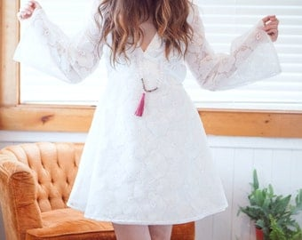 Embroidered bell sleeve mini dress, boho wedding, white mini dress, reception dress, bohemian mini, flower child, embroidery, fit and flare