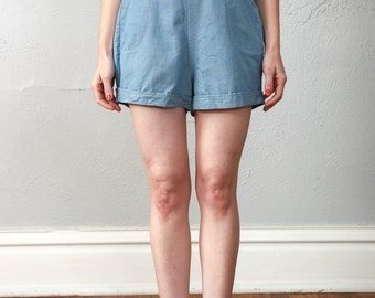 SALE- Vintage High Waisted Shorts . Blue Cotton
