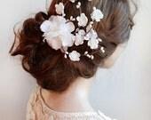 bridal headpiece, white flower hair clip, bridal hair accessories, floral hair clip, wedding hair piece, bridal hair comb, flower headpiece