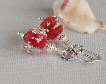 Red Beaded Earrings, Artisan Lampwork, Sterling Silver - SANGRIA