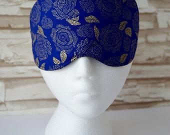 Blue & Gold Roses Eye Mask for Sleep, Travel, etc. ~ MADE TO ORDER