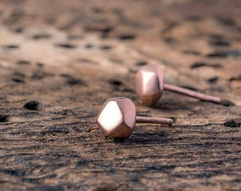 Rose Gold Pebble Earrings Sterling silver nugget Earrings Geometric Studs gold plated diamond gift for her minimal earring