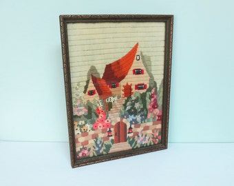 Vintage Crewel Cottage Picture with English Garden, Hand Stitched, Original Carved Wood Frame