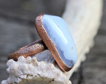 Gemstone Ring Raw Stone Ring Blue Stone Ring Blue Agate Ring Statement Ring Large Natural Stone Ring Bohemian Ring Bohemian Jewelry Big Ring
