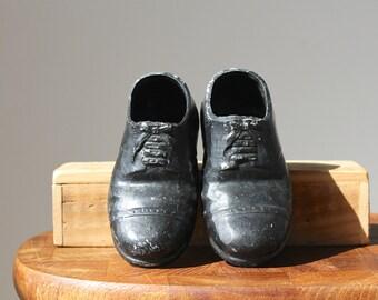Vintage Pottery Oxford Shoes, Little Black Shoes, Ceramic Pincushion Bases, Men's Shoes