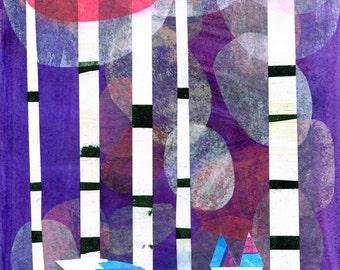 Northern Bliss, illustration art print, fox, purple, aspen trees, birch, forest, animal print, kids art, children's wall art, kids room
