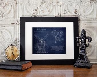 Beebe Windmill Blueprint art print, architectural blueprint, engineering, engineer gift, architect gift, wife gift, husband gift, xmas gift