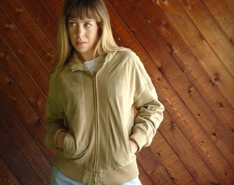 Vtg Suede Bomber Jacket with Ribbed Insets - S/M