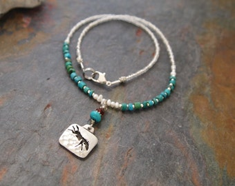 Beaded Gemstone Dancing Horse Necklace
