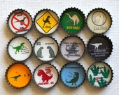 Gift For Him- Funny Dinosaur Upcycled Bottlecap Magnets- Dinosaur Decor- T-Rex- Office Decor- Dinosaur Humor- Set of 12 Strong Magnets