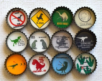 Gift For Him- Funny Dinosaur Upcycled Bottlecap Magnets- Dinosaur Decor- T-Rex- Office Decor- Set of 12 Strong Magnets