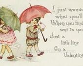 1915 Valentine Postcard, F A Owen Children with Umbrellas, Antique Handwritten Valentine