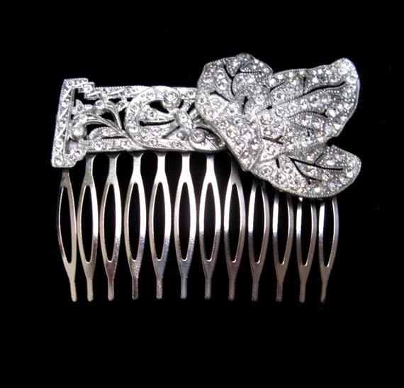 Vintage HAIR Comb HANDMADE Art DECO Rhinestone Clip Barrette Pin Leaves Jewelry Repurposed Accessories Wedding Bridal Headpiece Crystal