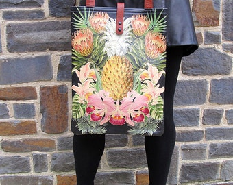 Leather Tote / Laptop bag - Tropical and Pineapple