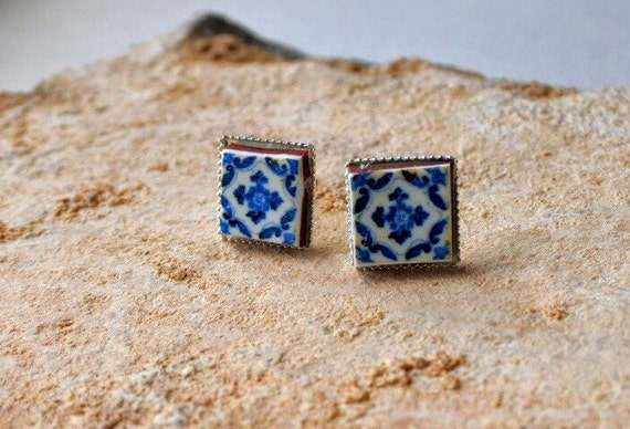 Stud Earrings Portugal Tile SILVER Blue Azulejo Post  Ovar (see photo of actual facade) Gift Box Included 621