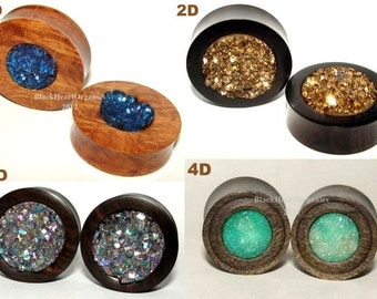 "Custom Wood Plugs, Druzy Agate Inlay Examples / Organic Jewelry (0g through 3"" +) (8mm through 76mm +), EXAMPLES of CUSTOM WORK"