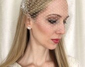 IVORY  Birdcage Veil 9 inch Bandeau French Netting, Wedding Veil, Wedding Accessory, Bridal Veil, Wedding Accessory, Bridal Headpiece