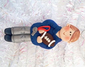 Football Coach Christmas Ornament - Gift for Football Coach - Handmade Polymer Clay Ornament - Personalized Football Ornament - 10131