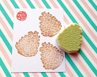 pine cone stamp. pinecone hand carved rubber stamp. woodland stamp. diy christmas birthday. scrapbooking. card making. gift wrapping