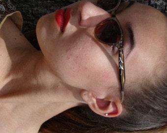Vintage Cat Eye Sunglasses, Bronze Glasses, Aluminum Glasses, Etched Glasses, 50s Sunglasses, 1950s Sunglasses, Rockabilly Glasses,