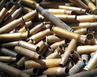 25 brass bullet shell casings,  various sizes spent ammo, steampunk, assemblage, found art jewelry