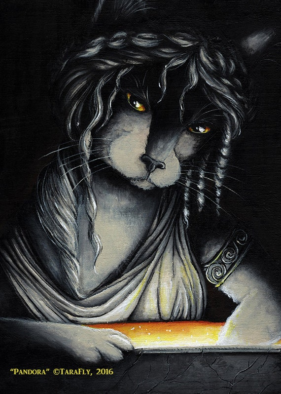 Pandora Box Cat 5x7 Fine Art Print