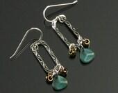 Everyday Earrings, Silver Oval Dangle Earrings, Unique Silver Earrings, Blue Gold, Unique Handmade Jewelry Gift for Girlfriend, Wife, Mom