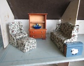 Dollhouse Living Room Decor.Wooden Bookcase Cabinet, Sofa, Chair and Ottoman, Bowl of Fruit.Book. #26