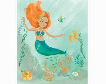 Mermaid wall art - nursery wall decor for girls, kids room art, bathroom art, watercolor