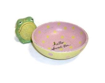 Hand Painted Polka Dot Wooden Bowl