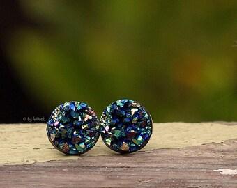 Glitter Stud Earrings, 10mm, Green Black Rainbow Faux Druzy - Titanium Posts