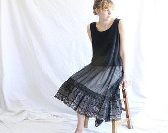 vintage black lace crinoline slip skirt 60s
