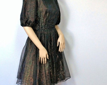 Square Dance Dress Vintage 1970's Country Western Black Sparkle Party Dress Full Skirt Puff Sleeves Size Medium