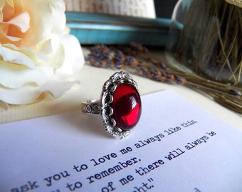 Vintage Dark Red Glass - Silver Plated Adjustable Ring - Jewelry by HoneyNest