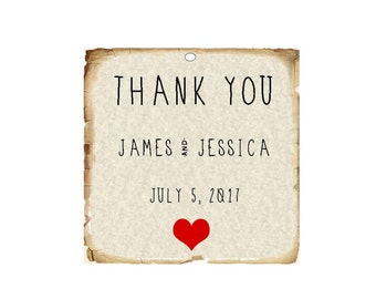 Wedding Favor Tags - Parchment Cardstock with Aged Border - Choose your heart color!