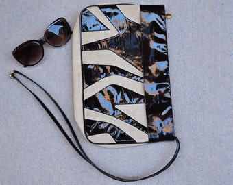 80s Clutch Black and Tan Geometric Zebra Inspired Design with Patent Leather 80s Accessories Epsteam