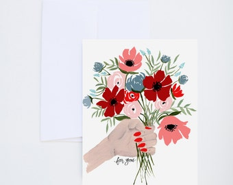 For You -  Floral Greeting Card - A-2 Single Card