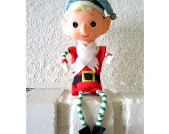 Shelf Sitter CHRISTMAS PIXIE ELF Striped Legs, Long Nose Made in Japan