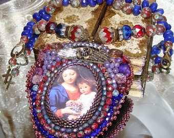 Christ, Mary and the grapes bead embroidery pendant necklace Sacred Jewelry Pamelia Designs sacred love Catholic Jewelry Religious Jewelry