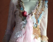 Powder blush--  pink  romantic delicate angora cardi, hand embroidered and beaded, with delicate old laces