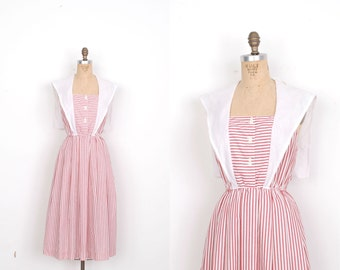 Vintage 1980s Dress / 80s Striped Cotton Dress with Sailor Collar / Red and White (S M)