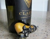 Black and Gold Fleur De Lis Wine Bottle Stopper. Unique Handcrafted Valentine's Day Gift