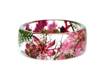Flower jewelry. Resin bracelet.Pink bracelet. Botanical jewelry. Cornflower. Fern. Pressed flowers. Real flowers. Flower jewelry. eco resin