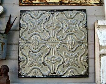 Tin Ceiling Tile, Antique Architectural Salvage, Rustic Farmhouse Decor, Old Pressed Tin Metal Tile, Primitive Chippy Distressed Paint