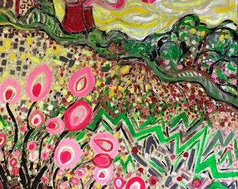 Nuclear power fuels the countryside - original painting by Katie Jurkiewicz