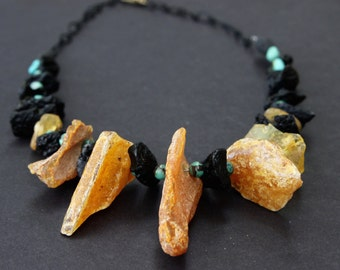 Large Raw Copal Amber Nuggets Necklace Organic Honey Copal w Black Tektite and Natural Turquoise Rustic Earthy Gemstone Jewelry