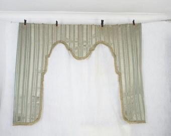 Large antique French silk curtain pelmet, window dressing, lambrequin, blind frame