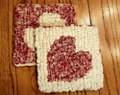 Valentine Locker Hooked Mug Rugs ~~ Love ~~ Spring ~~ Bridal Gift ~~ Coaster ~~ Kitchen Decor ~~ FAAP ~~OFG Team ~~ HDM