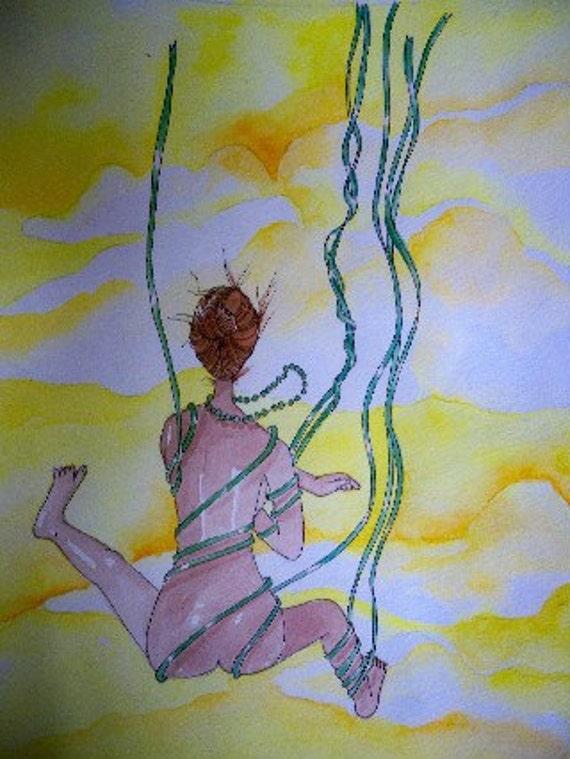 Falling with green ribbons original watercolor